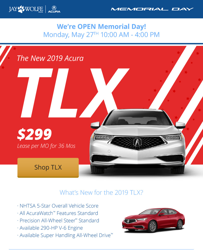 Lease the New 2019 Acura TLX for $299 per month for 36 months