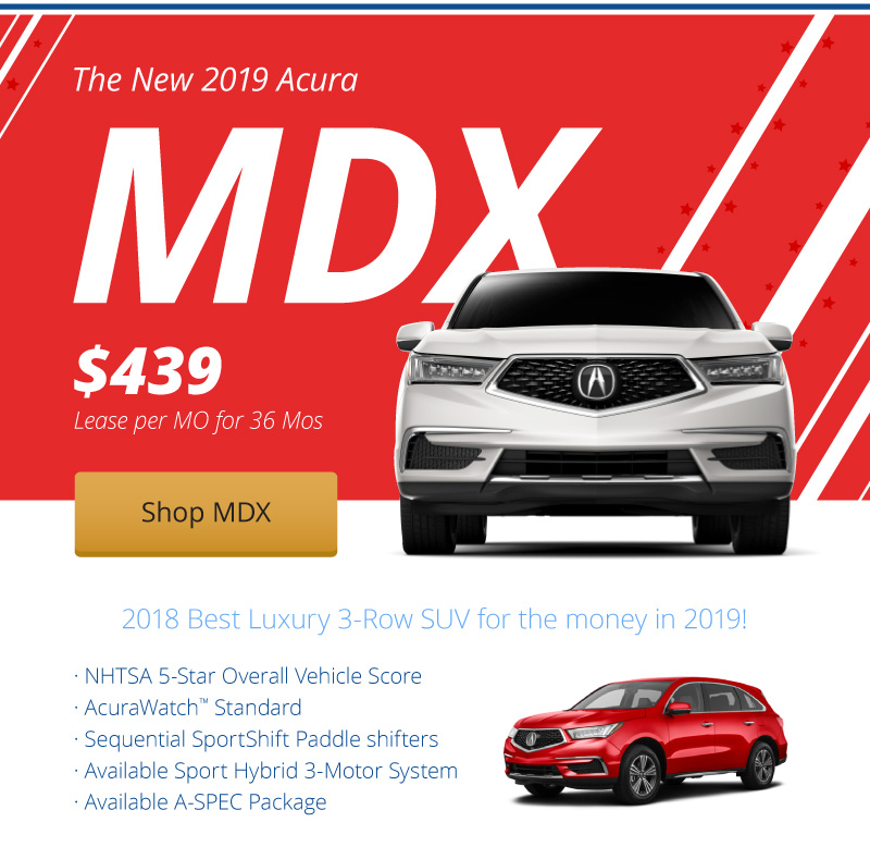 Lease the New 2019 Acura MDX for $439 per month for 36 months