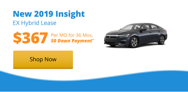 Lease a New 2019 Insight EX Hybrid for $367 per month for 36 months with $0 down payment