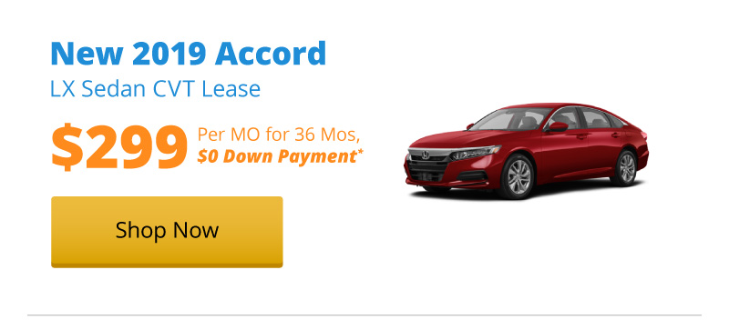 New 2019 Accord LX Sedan CVT lease for $299 per month for 36 months