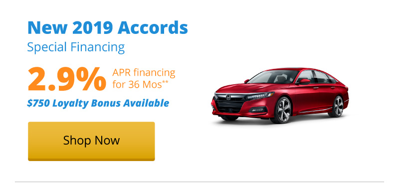 2.9% APR financing for 36 months on New 2019 Accords