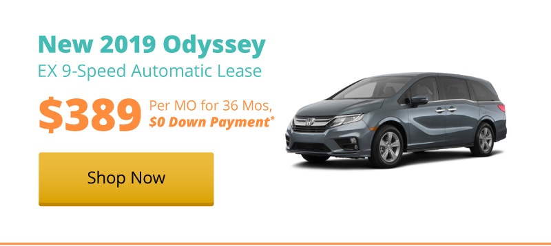 Lease a New 2019 Odyssey EX 9-Speed Automatic for $389 per month for 36 months