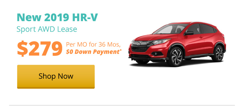 Lease a New 2019 HR-V LX AWD for $279 per month for 36 months