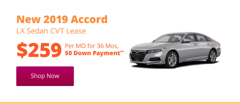 New 2019 Accord LX Sedan CVT lease for $259 per month for 36 months