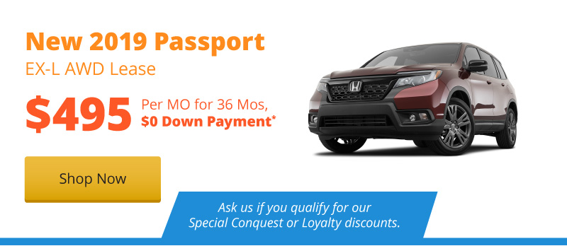 Lease a New 2019 Passport EX-L AWD for $495 per month for 36 months.