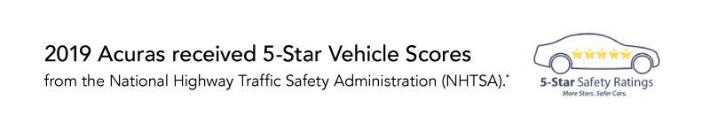 2019 Acuras have received 5-Star Overall Vehicle Scores from NHTSA.