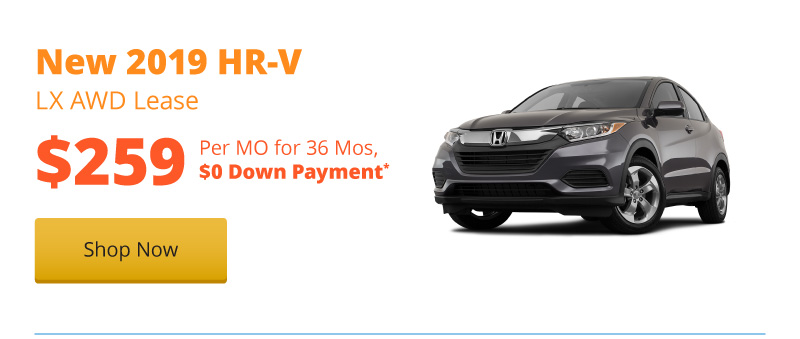 Lease a New 2019 HR-V LX AWD for $259 per month for 36 months