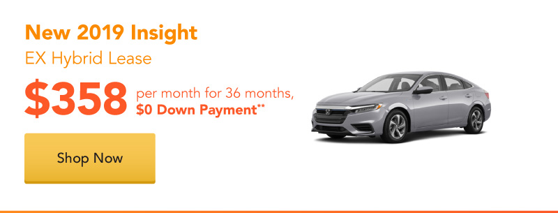 New 2019 Insight EX Hybrid lease for $358 per month for 36 months