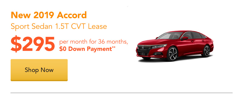 Lease a New 2019 Accord Sport Sedan 1.5T CVT lease for $295