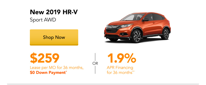 Year End Clearance | Lease a New 2019 HR-V Sport AWD for $259 per month for 36 months