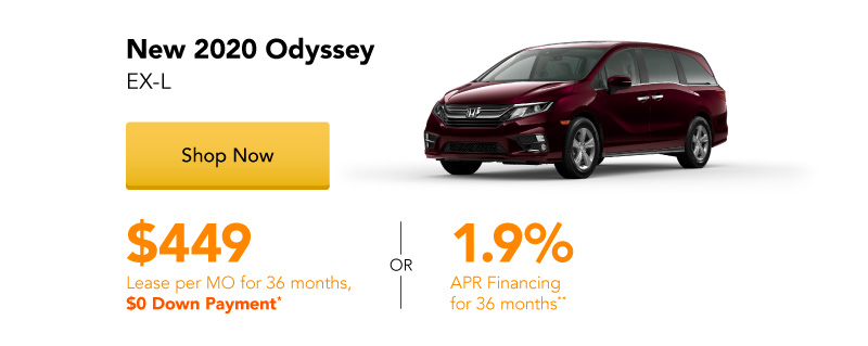 Year End Clearance | New 2020 Odyssey EX-L lease for $449 per month for 36 months