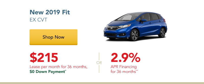 Happy Honda Days | New 2019 Fit EX CVT lease for $215 per month for 36 months