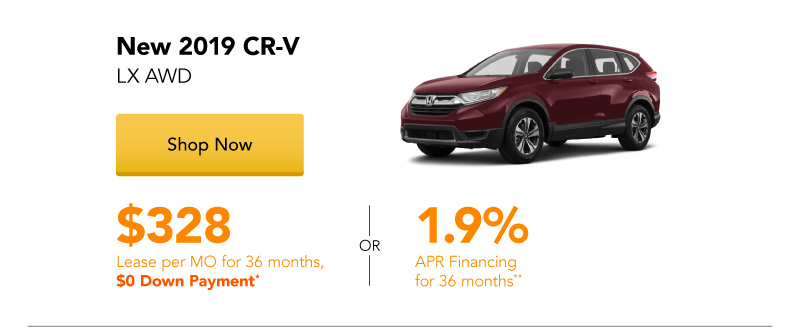 Year End Clearance | Lease a New 2019 CR-V LX AWD for $328 per month for 36 months