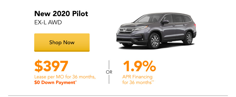 Year End Clearance | New 2020 Pilot EX-L AWD lease for $397 per month for 36 months
