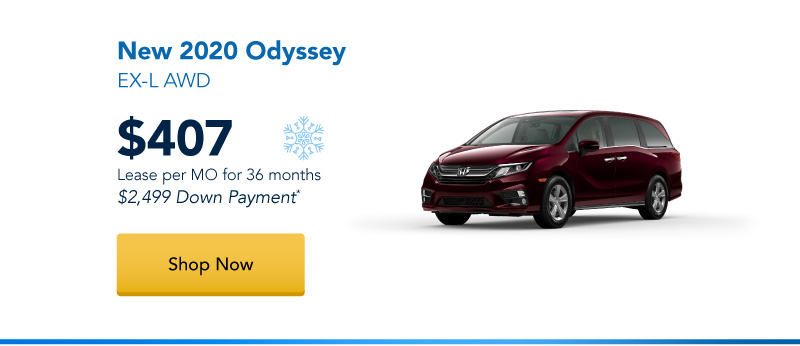 New 2020 Odyssey EX-L AWD lease for $407 per month for 36 months