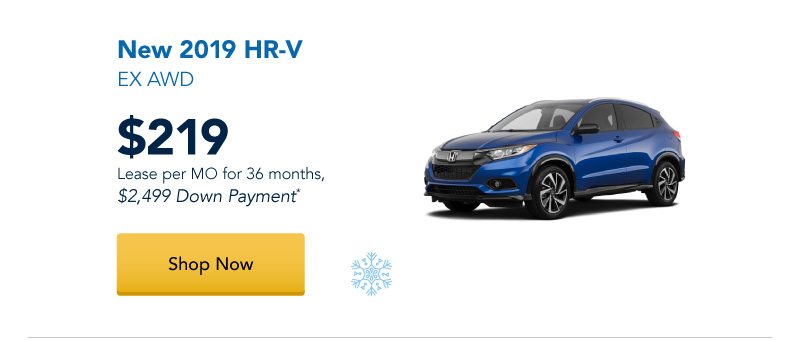 Lease a New 2019 HR-V EX AWD for $219 per month for 36 months