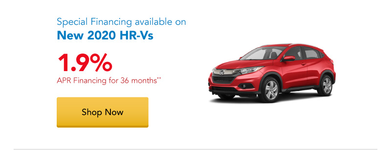 1.9% APR financing for 36 months on New 2020 HR-Vs