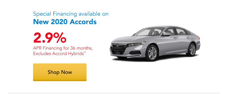 2.9% APR financing for 36 months on New 2020 Accords
