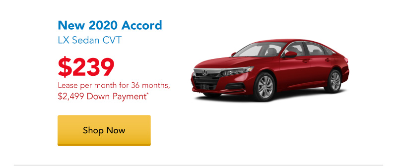 New 2020 Accord LX Sedan lease for $239 per month for 36 months