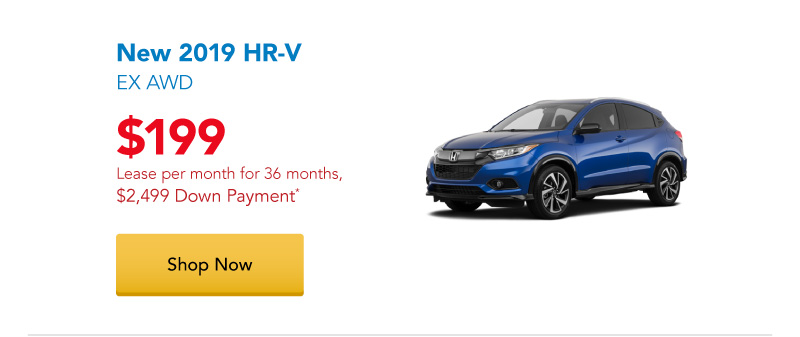 Lease a New 2019 HR-V EX AWD for $199 per month for 36 months