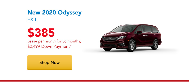New 2020 Odyssey EX-L AWD lease for $385 per month for 36 months
