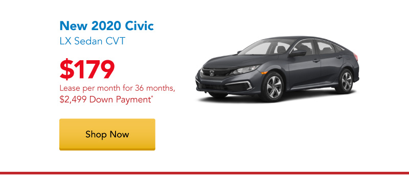 New 2020 Civic LX Sedan CVT lease for $179 per month for 36 months