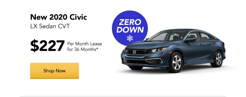 New 2020 Civic LX Sedan CVT lease
