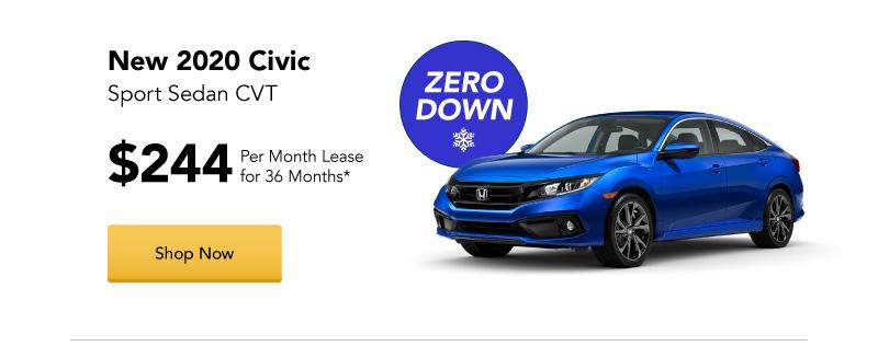 New 2020 Civic Sport Sedan CVT lease