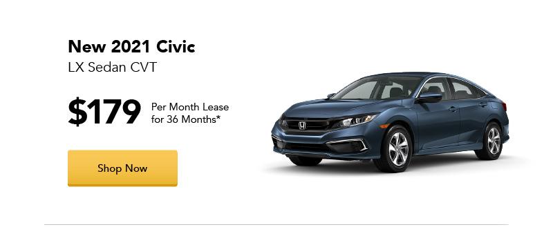 New 2021 Civic LX Sedan CVT lease