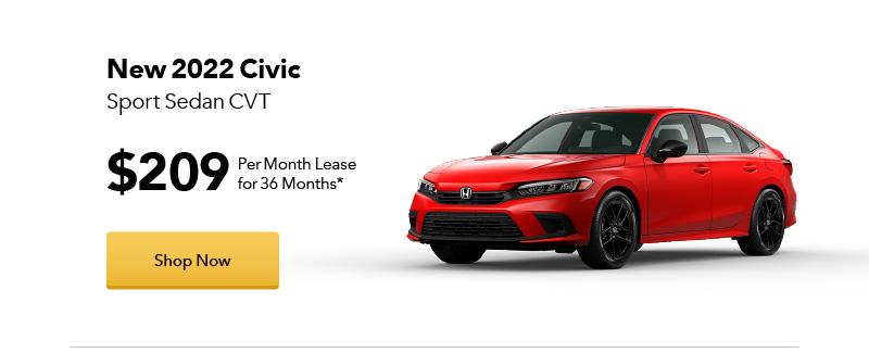 New 2022 Civic Sport Sedan CVT lease